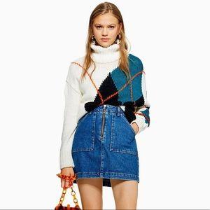 Topshop utility zip up denim jeans skirt NWT